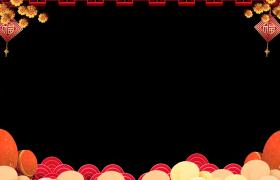 新年边框:粒子花鼓古风剪纸花纹圆环转动动态拜年视频前景边框素材