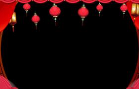 鼠年边框_喜庆粒子扩散爆炸喜庆灯笼摇曳花纹流转动态新春边框前景素材