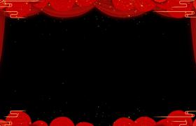 拜年边框:喜庆红色祥云错位运动动态循环拜年边框视频素材