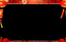 拜年边框:金色粒子飘洒绚丽烟花绽放喜庆灯笼摇曳新年拜年动态边框前景