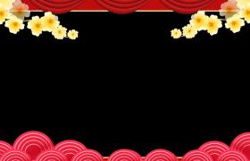 动态新年边框:金色桃花动态对称无缝循环动感拜年边框素材