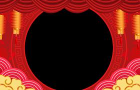 新年边框:喜庆中国风圆环祥云漂浮节日喜庆灯笼摇曳鼠年拜年视频边框模板