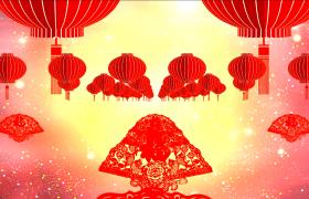 新年送福喜庆剪纸折扇福字灯笼星空粒子3D效果视频节日素材