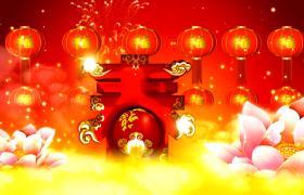 春节福字灯笼阵列上升创意春字莲花池视频节日素材