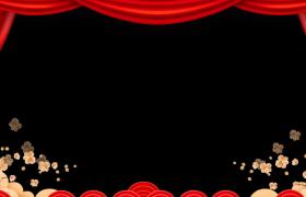 新年边框:喜庆帷幕动态梅枝颤动花瓣纷飞鼠年拜年边框视频素材