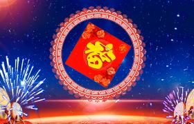 福字战鼓震耳欲聋烟花绽放迎新春星空背景节日视频素材