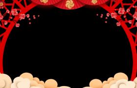 中国风古典拱形边框喜庆新年拜年视频动态前景边框素材