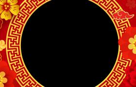动态新年边框:喜庆红色古风圆环鲜花牡丹转动动态新年拜年视频边框素材