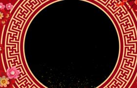 粒子视觉效果动态古风圆环转动唯美喜庆新春拜年视频边框素材