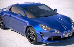 新一代雷诺Alpine A110高性能概念跑车C4D模型(含细节贴图)