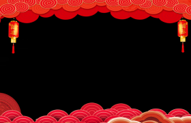 祥云浮动边框福字灯笼摇曳红色喜庆动态拜年边框视频素材