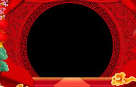 剪纸风圆环边框:纸扇梅花喜庆灯笼多种中国元素展示动态鼠年拜年边框素材