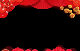 动态边框_喜庆新年中国元素循环动画动态新春拜年边框视频素材