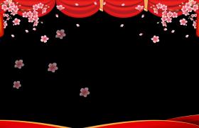 边框视频素材_梅枝颤动花瓣飞舞动态穿梭喜庆拜年边框素材