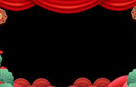 边框素材_创意剪纸花型MG动画演绎喜庆新春鼠年拜年边框视频素材