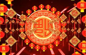 喜庆福字灯笼环中国结时空光束春节鼠年视频素材下载