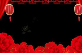动态边框_喜庆中国风红色牡丹绽放摇曳烟花闪烁动态新年拜年边框素材