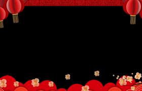 中国风梅枝摇曳花瓣纷飞喜庆灯笼随风飘荡动态新春拜年边框视频素材