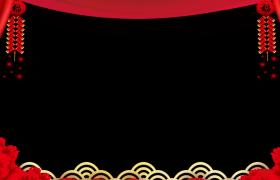 剪纸风MG动画喜庆红色帷幕中国风新年元素演绎装饰拜年视频边框素材
