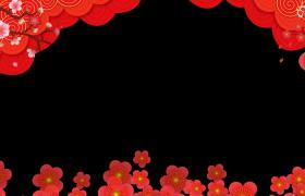 新年視頻邊框_梅花飛舞花瓣旋轉枝頭燈籠搖曳唯美喜慶新春拜年動態邊框