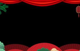 MG動畫風喜慶中國年松枝顫動紅色燈籠搖曳動態剪紙風邊框視頻素材