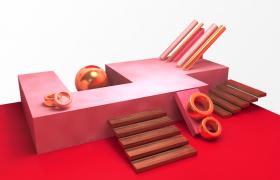 電商促銷活動場景唯美粉紅色舞臺效果卡通建筑C4D模型渲染工程下載