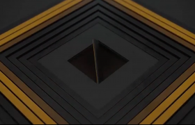 简约创意标志动画层叠图形漩涡快速旋转3D效果AE模板