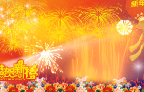 恭贺新禧富贵花红灯笼装饰烟花美艳绽放LED新年舞台背景视频