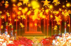 天安门花丛中浮现金色星星粒子雨演绎MP4党政视频背景