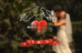 浪漫秋之戀婚禮影像卡通片頭比翼鳥AE模板下載