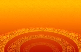 橙色螺纹平铺镂空金雕圆环交错旋转HD新年视频背景