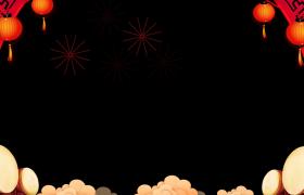 新年邊框_喜慶燈籠搖曳鑼鼓震天線條煙花綻放冬天新春拜年視頻邊框素材