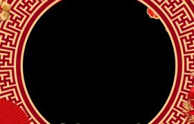 新年边框_MG动画中国风纸扇金穗摇曳展示动态新春拜年边框素材