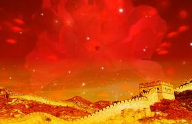 万里长城气势磅礴红花盛开气泡粒子动感效果MOV舞台背景视频