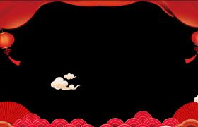 邊框合成素材_中國喜慶風格祥云飄舞燈籠飄蕩動感新春拜年視頻邊框