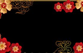 喜慶拜年邊框_花瓣旋轉飛舞祥云動態漂浮唯美喜慶新春拜年視頻邊框
