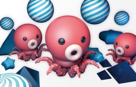 卡通手繪畫可愛的小章魚兒童海洋樂園3D海報Cinema4d r15模型展示