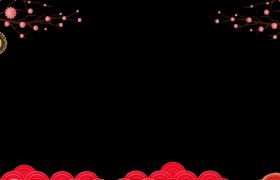 动态新年边框_金色梅枝福字灯笼摇曳喜庆祥云动态流转新年拜年边框素材