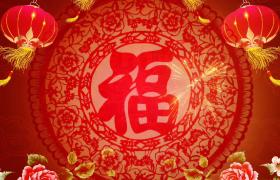粉色鲜花大红灯笼装饰福字窗花精美展示HD新年视频素材