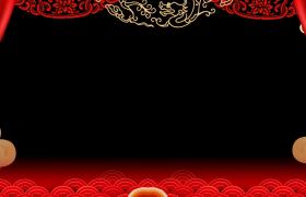 動態拜年邊框-紅色雪花飛舞祥云浮動喜慶中國年拜年視頻動態前景邊框素材