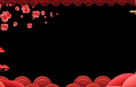 梅花飞舞浮云漂浮展现MG动态新春拜年视频边框素材