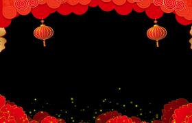 新春拜年邊框_牡丹花瓣飛舞螢火蟲般的金色粒子閃爍動態拜年邊框素材