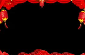 喜庆拜年边框-灯笼摇曳浮云转动粒子烟花肆意绽放MG动画风新春动态视频边框
