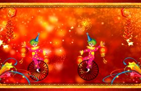 小丑杂技表演烟花粒子闪烁绽放新年舞台背景视频
