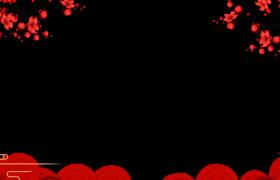 新春拜年邊框_紅色大氣桃花展示動態祥云浮動喜慶新春拜年邊框素材