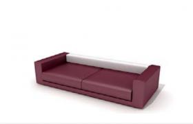 豪華大氣的全青皮酒紅皮藝沙發客廳家居用品C4D模型(含貼圖)