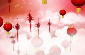 灯笼福结漂亮云层中上升MP4新年舞台背景视频