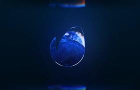 LOGO演绎动画开场蓝色水下海洋喷泉流动AE模板
