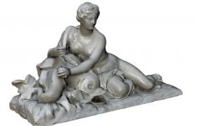 優雅開放的藝術人物雕塑設計盧浮宮安菲特律特角色雕塑C4D模型展示