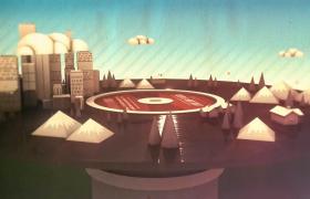 黑胶唱片旋转奇幻城市3D立体呈现MOV音乐舞台背景视频